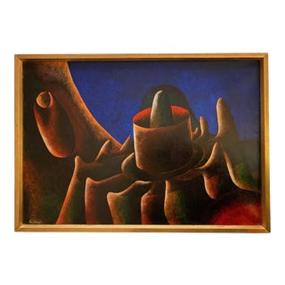 French Surrealist Painting, 1960s, Oil on Canvas by Jean Cuillerat, Paris For Sale