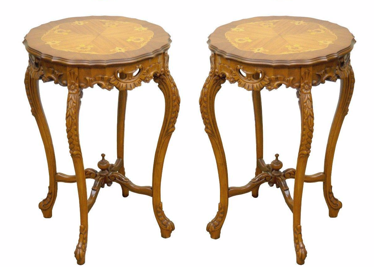 Pair Of Antique French Floral Satinwood Inlaid Round End Tables Carved  Walnut For Sale   Image