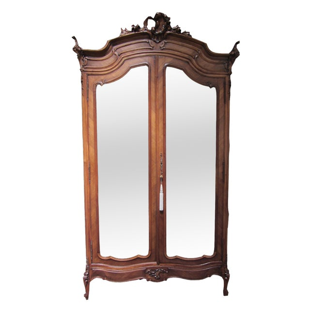 Mirrored Carved Wood Armoire - Image 1 of 10