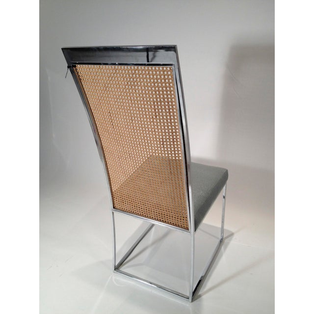 Mid Century Modern S/ 8 Milo Baughman Newly Upholstered Chrome & Cane Back Dining Chairs - Image 3 of 10
