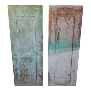 19th Century Mexican Farmhouse Wooden Distressed Window Shutters - a Pair For Sale