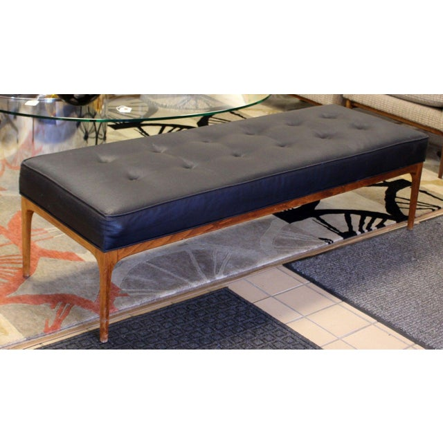 Mid Century Modern 5 Feet Long Tufted Black Vinyl & Teak Wood Bench Seat For Sale - Image 4 of 7