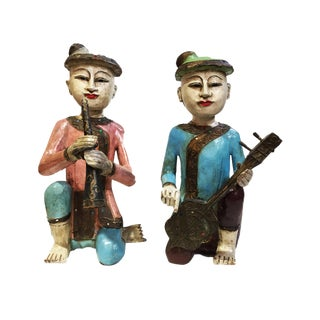Old Burmese Wood Carved Musician Figures S/2 For Sale