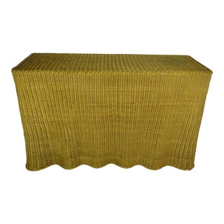 1970's Sculptural Trompe l'Oeil Rattan Wicker Draped Skirt Console Sofa Table For Sale