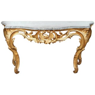 19th C. French Carved Giltwood Marble Top Console For Sale