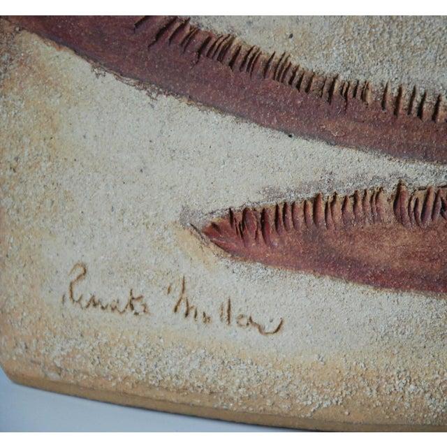 Circa 1980 R. Miller Slab Built Relief Stoneware Vase, For Sale - Image 5 of 6