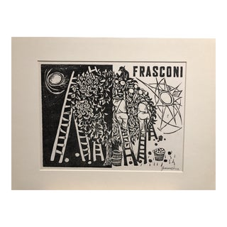 """1952 Woodcut """"Day and Night"""" Antonio Frasconi For Sale"""