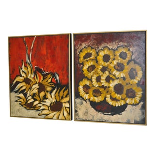 """C. 1960 Mid-Century Carlo of Hollywood """"Sunflowers"""" Oil Paintings - A Pair For Sale"""