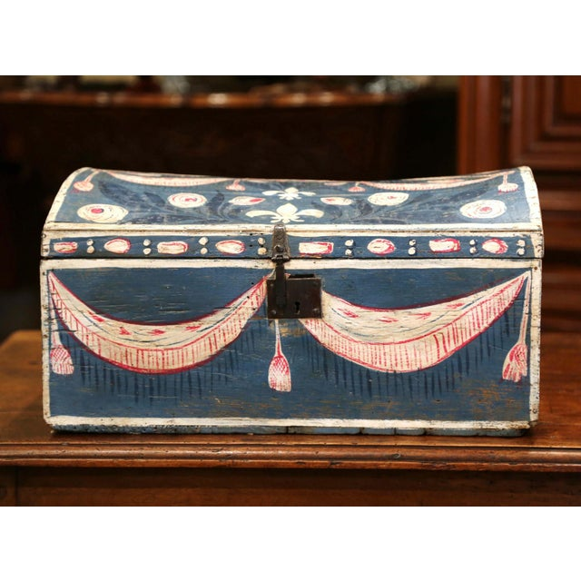 This beautifully executed antique wedding trunk was carved in northern France, circa 1780. The decorative, bombe box with...