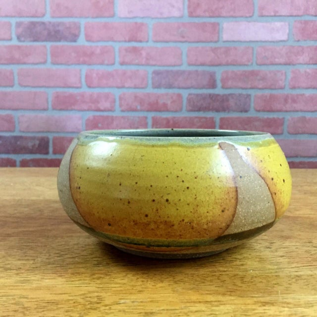Green Drip Glaze Pottery Bowl For Sale - Image 8 of 8