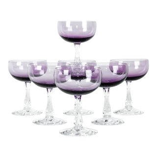 Vintage Amethyst Crystal Coupes - Set of 7