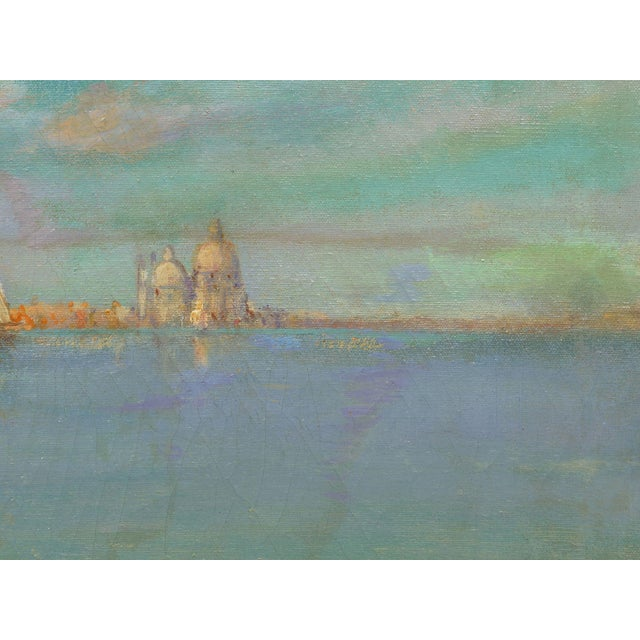 """""""View of Venice"""" Antique Oil Painting by Nicholas Briganti (American, 1861-1944) For Sale - Image 9 of 13"""