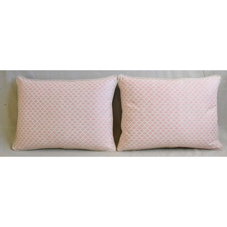 """Italian Mariano Fortuny Pink Canestrelli & Velvet Feather/Down Pillows 24"""" X 18"""" - Pair Preview"""