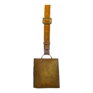 Antique Swiss Bronzed Iron Cow Bell Decorative Belt For Sale