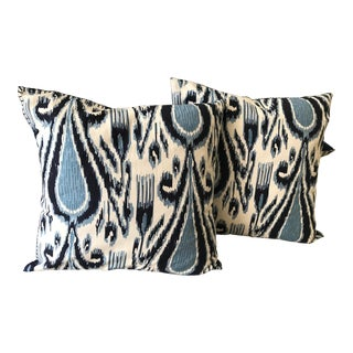 Contemporary Ikat Patterned Pillows - a Pair For Sale