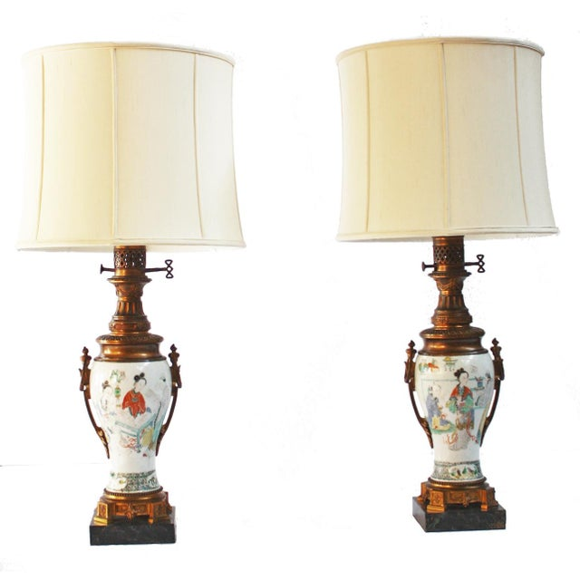 Metal Pair of 18th Century Chinese Gilt Mounted Porcelain Vases as Lamps For Sale - Image 7 of 7