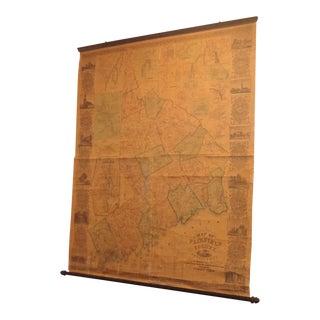 Antique Fairfield County Connecticut, Civil War Era 1856 Wall Map For Sale