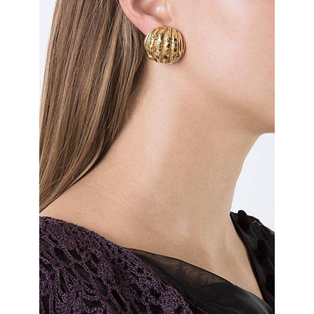 """Chanel Vintage Gold Charm Evening Stud Earrings Metal Gold tone hardware Clip on closure Made in France Diameter 1""""..."""