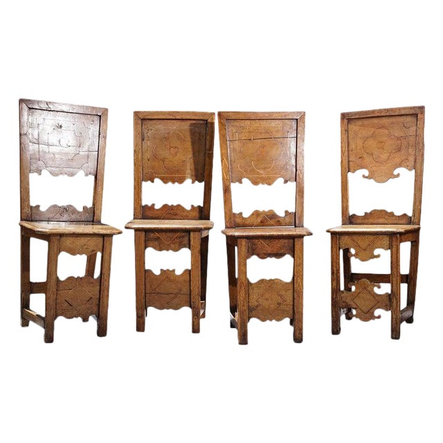 Group of Four 18th Century Inlaid Walnut Side Chairs For Sale