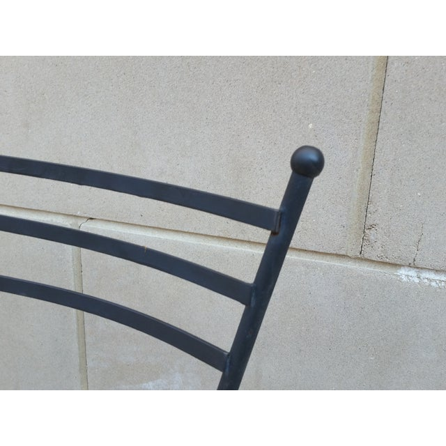 Mid-Century Petite Wrought Iron Cafe Chairs - Pair - Image 4 of 9