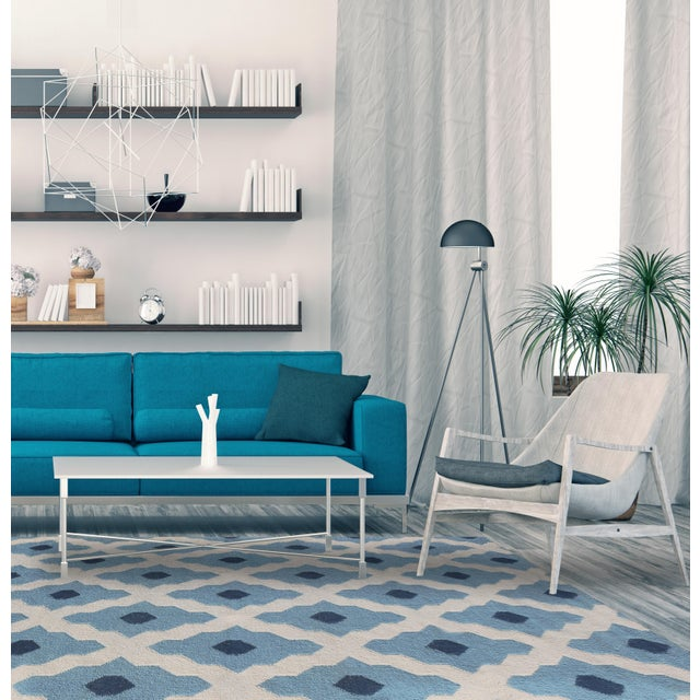 Contemporary Zara Trellis Light Blue Flat-Weave Rug 8'x10' For Sale - Image 3 of 4