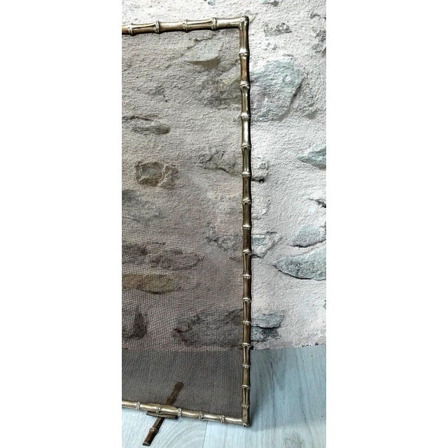 Metal 1940s French Art Deco Maison Bagues Bronze Fireplace Screen - Bamboo For Sale - Image 7 of 11