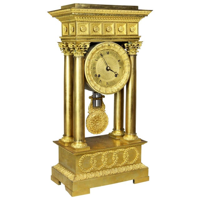 French Empire Bronze Mantle Clock For Sale - Image 12 of 12