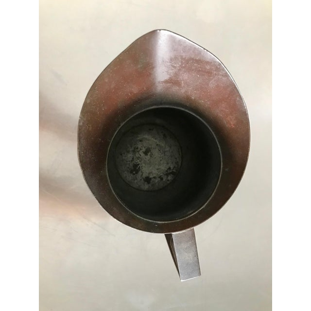 Vintage Bel Geddes Era Art Deco Copper Metal Water Pitcher For Sale - Image 9 of 10
