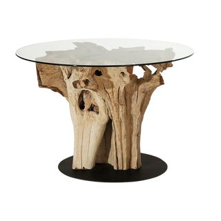Weathered Teak Root Bistro Table For Sale