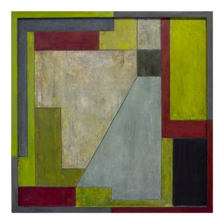 """""""No Caution"""" Abstract Modern Square Geometric Oil Painting by Stephen Cimini For Sale"""