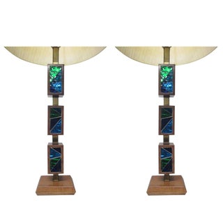 Pair of Italian Walnut and Tile Lamps For Sale