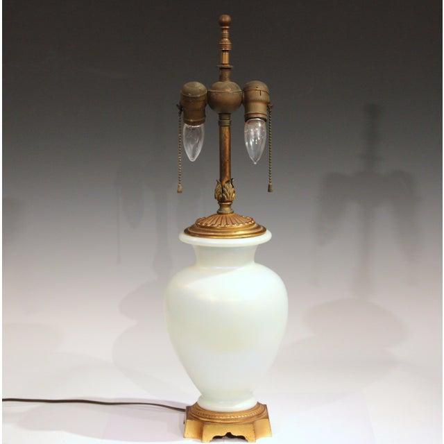 1930s Antique Steuben Glass Ivrene Aurene Iridescent Vase Lamp Art Deco Gilt Bronze For Sale - Image 5 of 11