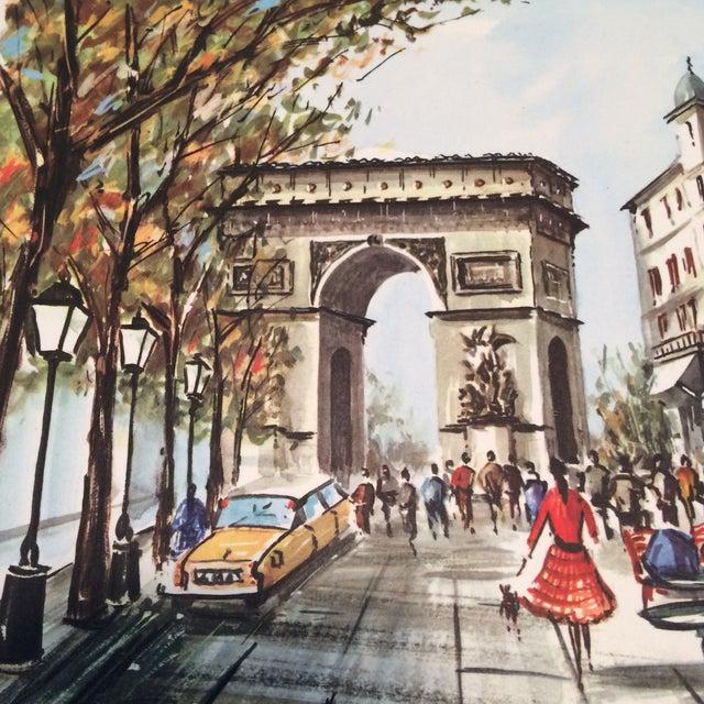 """Vintage Paris 1950's Litho """"Champs Elysees Arc de Triompe"""" by Ducollet - Image 7 of 11"""