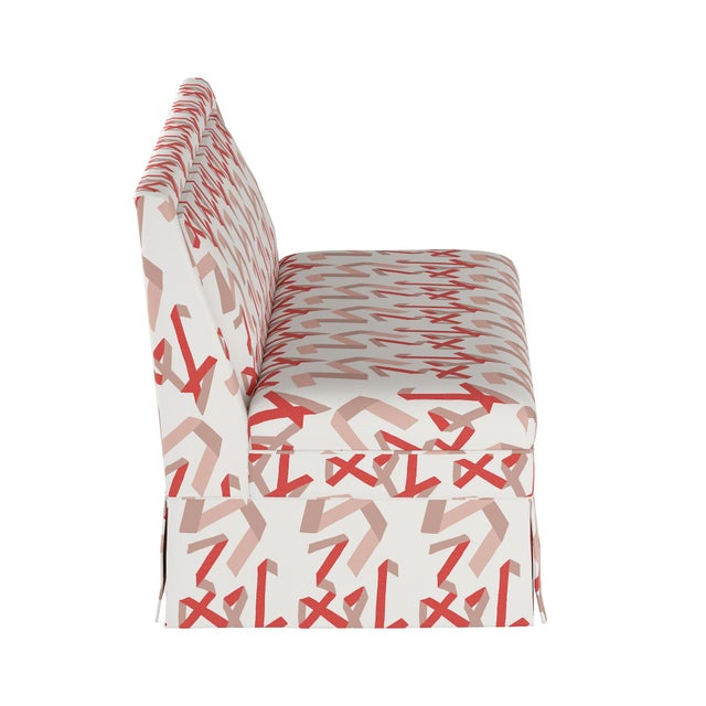 Contemporary Skirted Settee in Pink & Red Ribbon by Angela Chrusciaki Blehm for Chairish For Sale - Image 3 of 8
