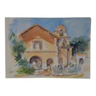 "Emilie Sandoval ""California Mission"" Original Watercolor Painting C.1980 For Sale"