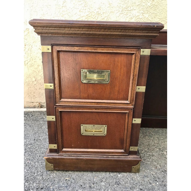 Campaign 1970s Campaign Executive Desk With Brass Hardware For Sale - Image 3 of 12