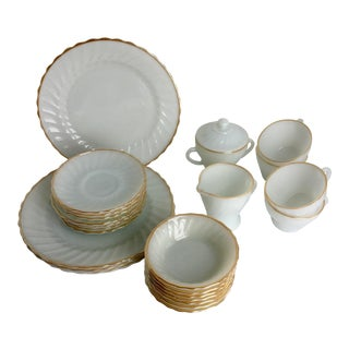 Mid 20th Century Anchor Hocking Fire King Suburbia Golden Shell Milk Glass Dishware - Set of 24 For Sale