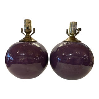 Early 20th Century French Purple Glazed Porcelain Globe Lamps - a Pair For Sale