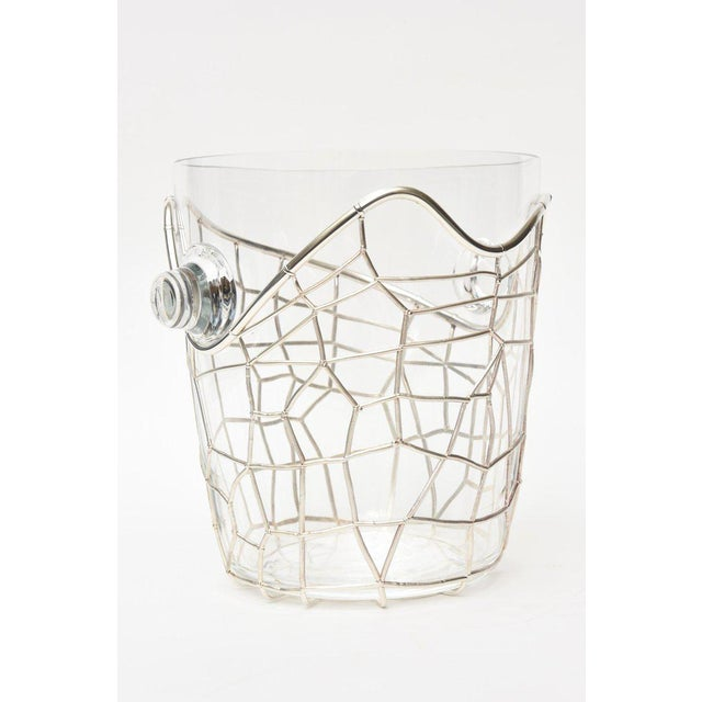 Metal Italian Pampaloni Sterling Silver & Glass Sculptural Ice/Champagne Bucket For Sale - Image 7 of 10