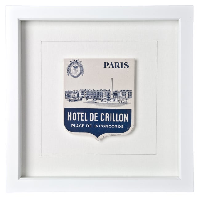 Framed Crillon Paris Hotel Luggage Label - Image 1 of 2
