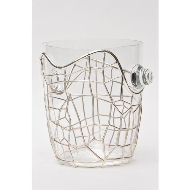 Pampaloni Italian Pampaloni Sterling Silver & Glass Sculptural Ice/Champagne Bucket For Sale - Image 4 of 10