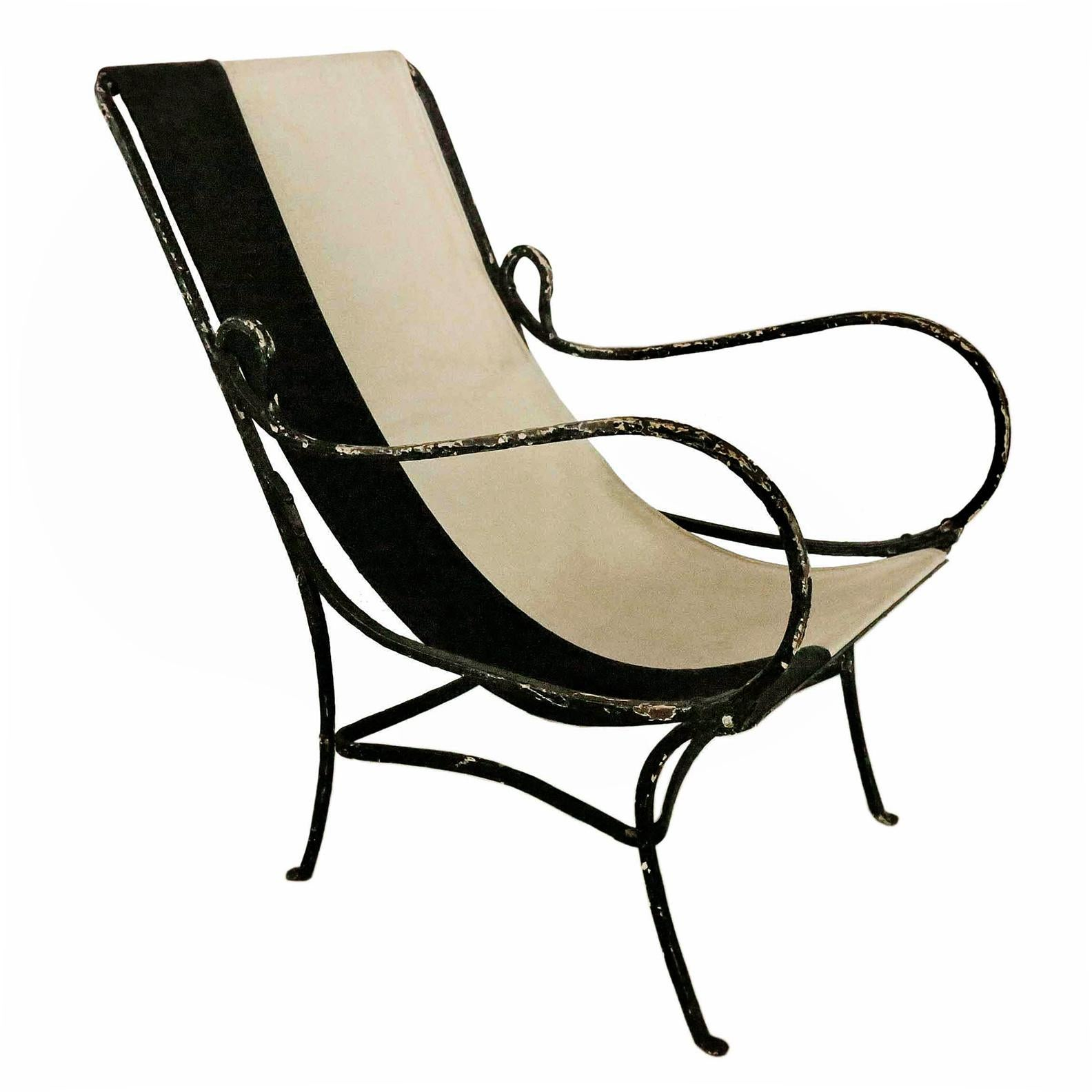 Genial Wrought Iron Slingback Chair With Canvas For Sale In New York   Image 6 Of 6