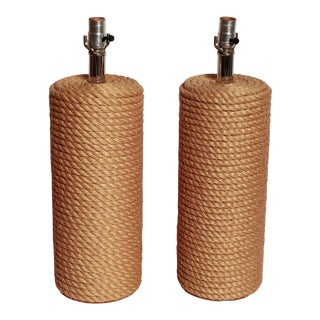Natural Jute Rope Wrapped Table Lamps - a Pair For Sale