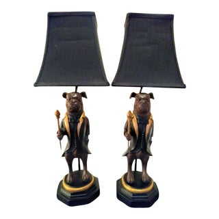 A Pair of Regal Tall Standing Whimsical Bulldog With Smoking Jacket Table Lamps For Sale