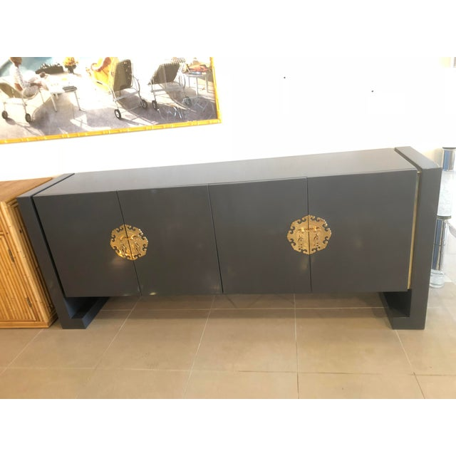 Amazing vintage newly lacquered grey and brass accent credenza, sideboard, buffet by Century Furniture. Double doors open...