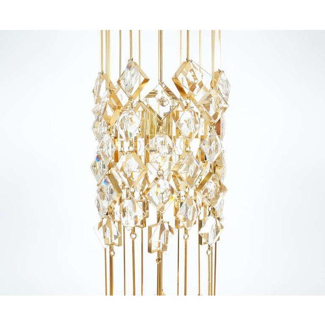 Golden Brass and Crystal Column Chandelier Lamp by Palwa, 1960 For Sale - Image 6 of 9