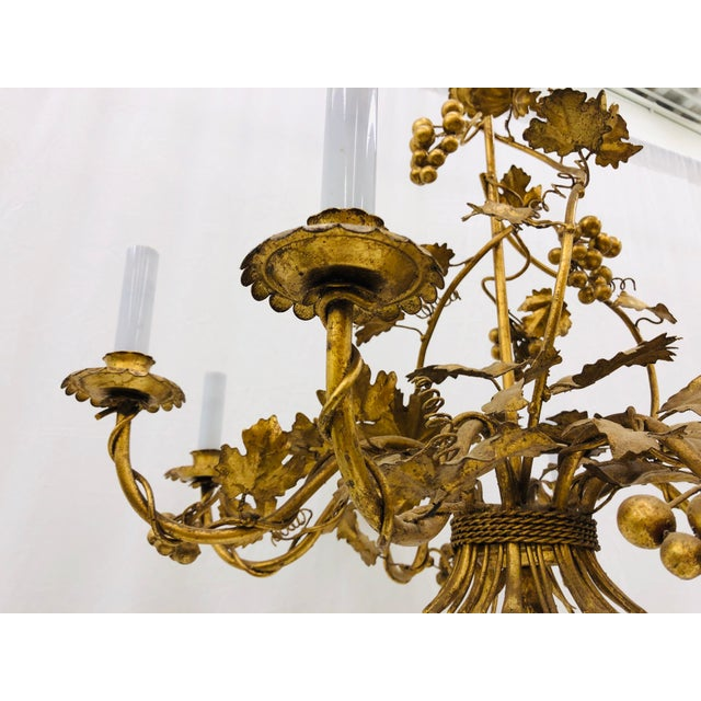 Early 20th Century Antique French Gilded Ivy Chandelier For Sale - Image 5 of 13