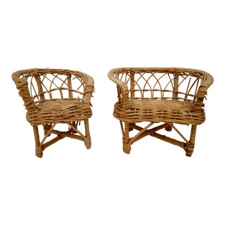 Mini Wicker Chair Sofa Boho Plant Stands - A Pair