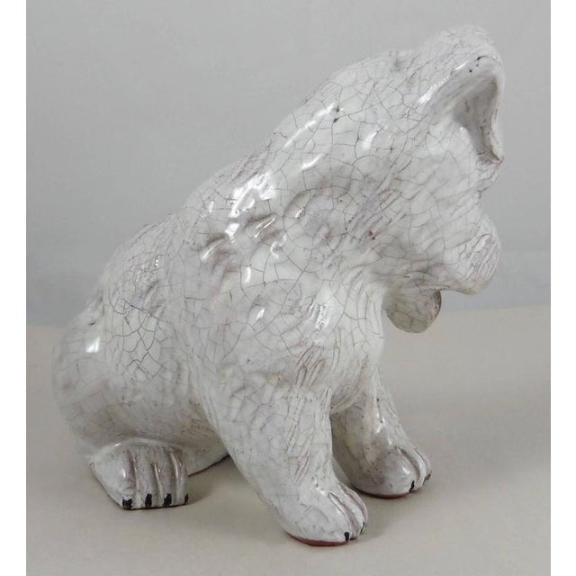 Rustic 1950 French White Terracotta Dog For Sale - Image 3 of 5