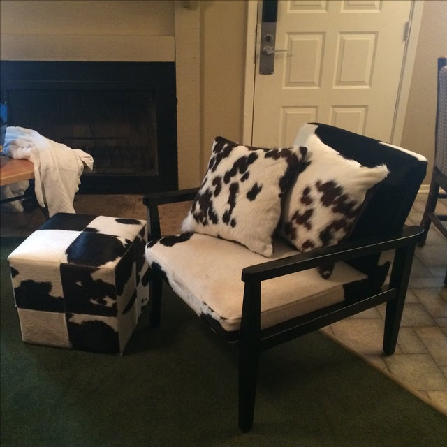 Mid-Century Genuine Cowhide Accent Chair & Ottoman - Image 2 of 11